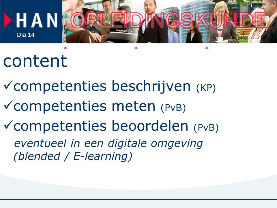 content competenties beschrijven (KP) competenties meten (PvB)