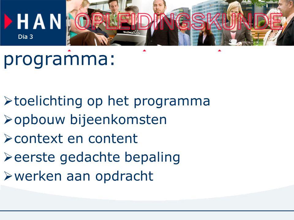 programma: toelichting op het programma opbouw bijeenkomsten