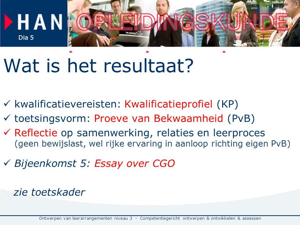 Wat is het resultaat kwalificatievereisten: Kwalificatieprofiel (KP)