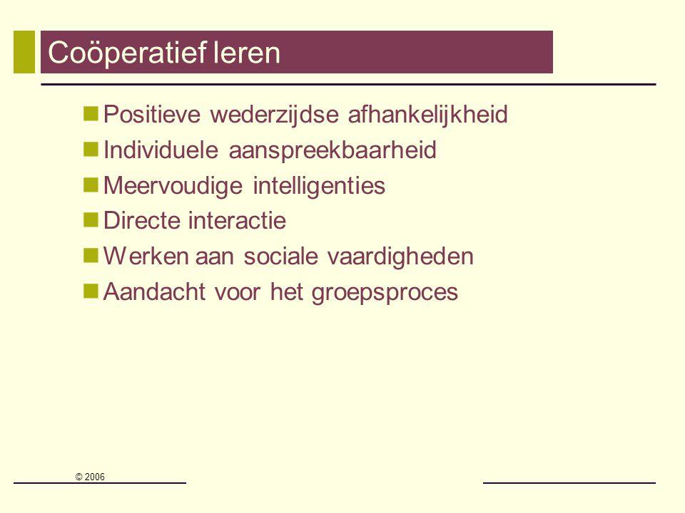 Coöperatief leren Positieve wederzijdse afhankelijkheid