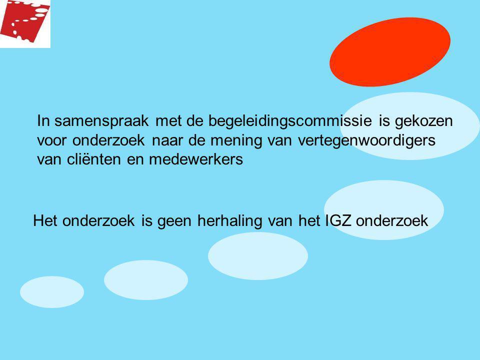 In samenspraak met de begeleidingscommissie is gekozen voor onderzoek naar de mening van vertegenwoordigers van cliënten en medewerkers