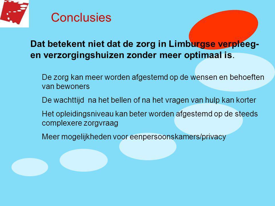 Conclusies Dat betekent niet dat de zorg in Limburgse verpleeg- en verzorgingshuizen zonder meer optimaal is.