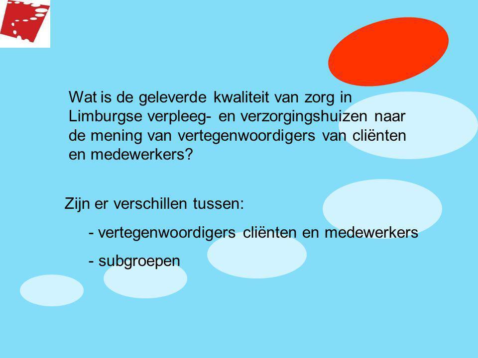 Wat is de geleverde kwaliteit van zorg in Limburgse verpleeg- en verzorgingshuizen naar de mening van vertegenwoordigers van cliënten en medewerkers