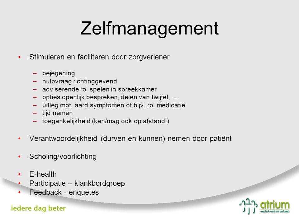 Zelfmanagement Stimuleren en faciliteren door zorgverlener