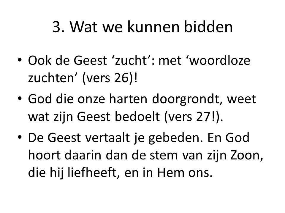 3. Wat we kunnen bidden Ook de Geest 'zucht': met 'woordloze zuchten' (vers 26)!