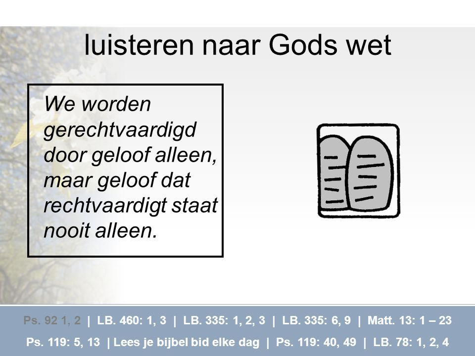luisteren naar Gods wet