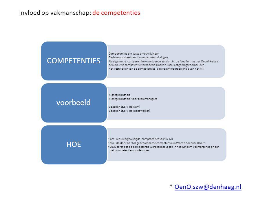COMPETENTIES voorbeeld HOE Invloed op vakmanschap: de competenties
