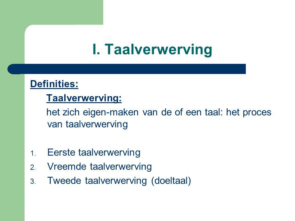 I. Taalverwerving Definities: Taalverwerving: