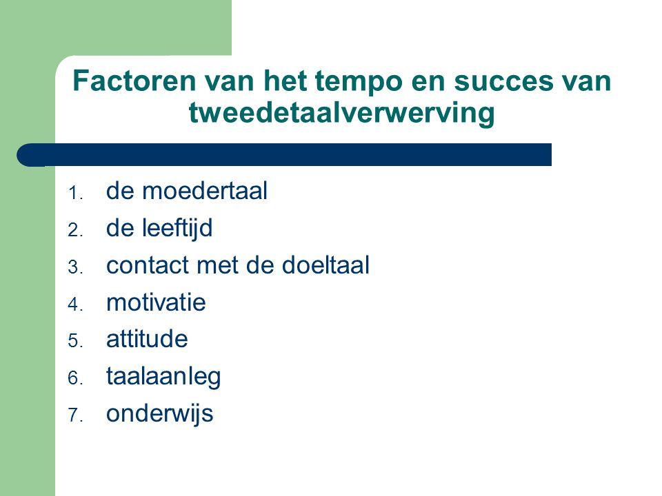 Factoren van het tempo en succes van tweedetaalverwerving