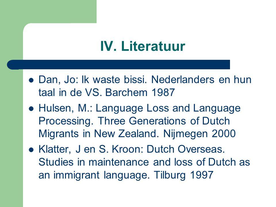 IV. Literatuur Dan, Jo: Ik waste bissi. Nederlanders en hun taal in de VS. Barchem 1987.
