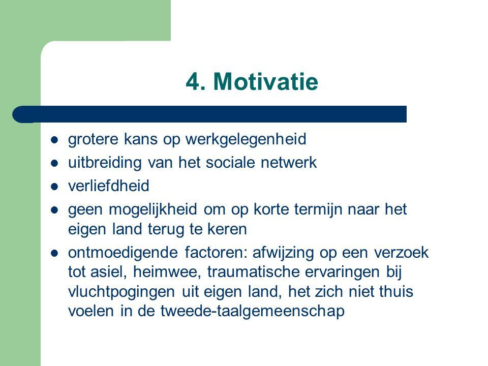 4. Motivatie grotere kans op werkgelegenheid