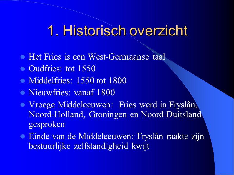 1. Historisch overzicht Het Fries is een West-Germaanse taal