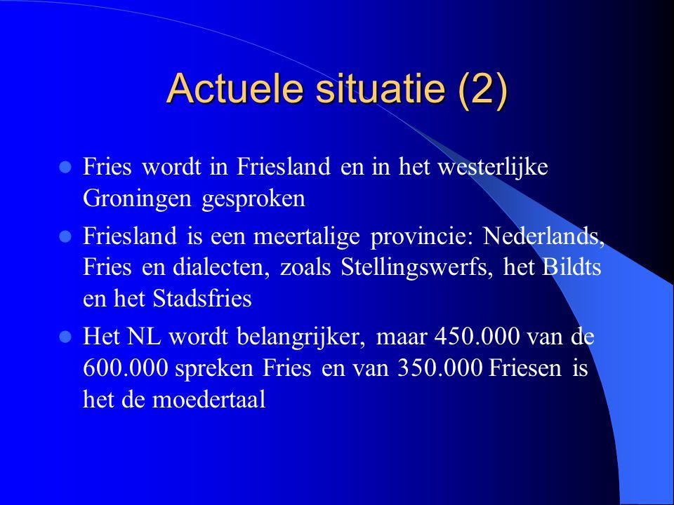 Actuele situatie (2) Fries wordt in Friesland en in het westerlijke Groningen gesproken.