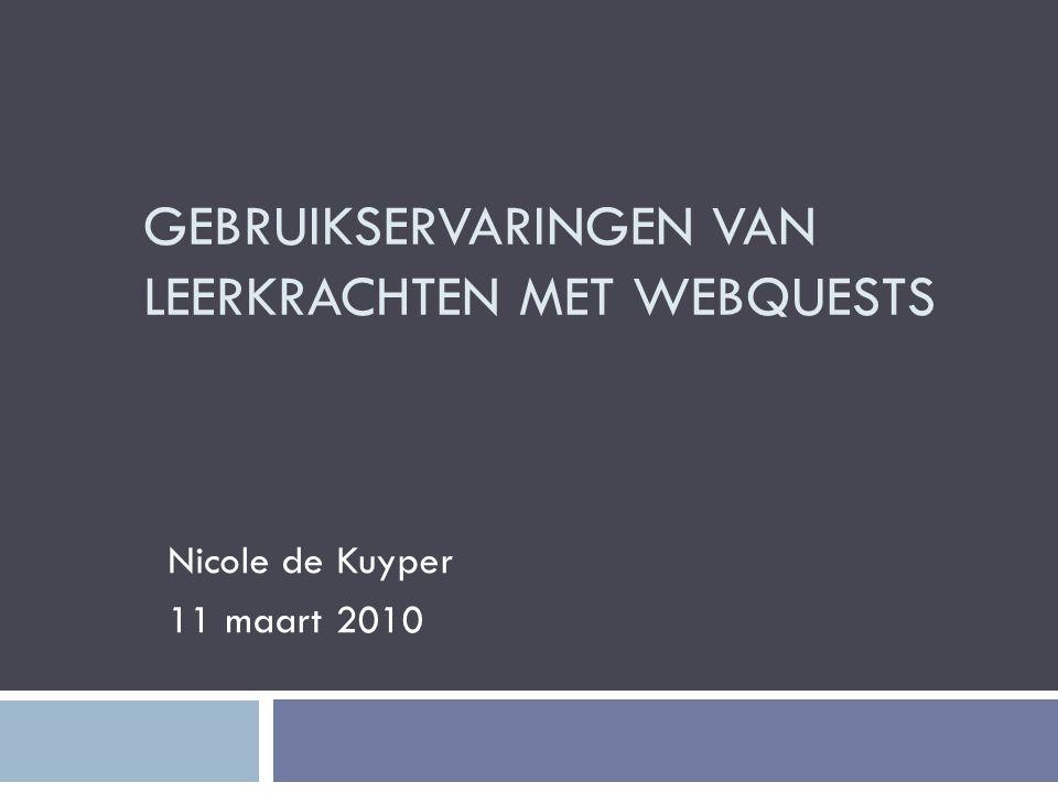 Gebruikservaringen van leerkrachten met WebQuests