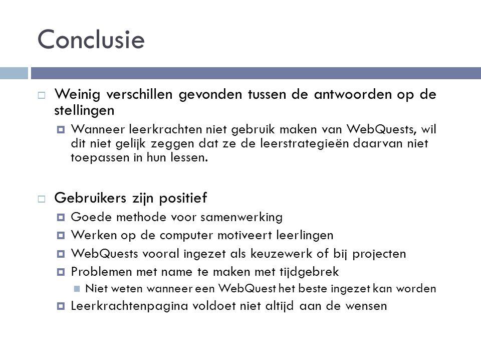 Conclusie Weinig verschillen gevonden tussen de antwoorden op de stellingen.