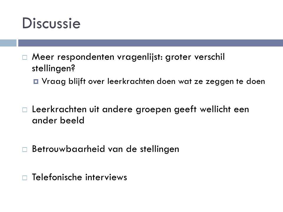 Discussie Meer respondenten vragenlijst: groter verschil stellingen