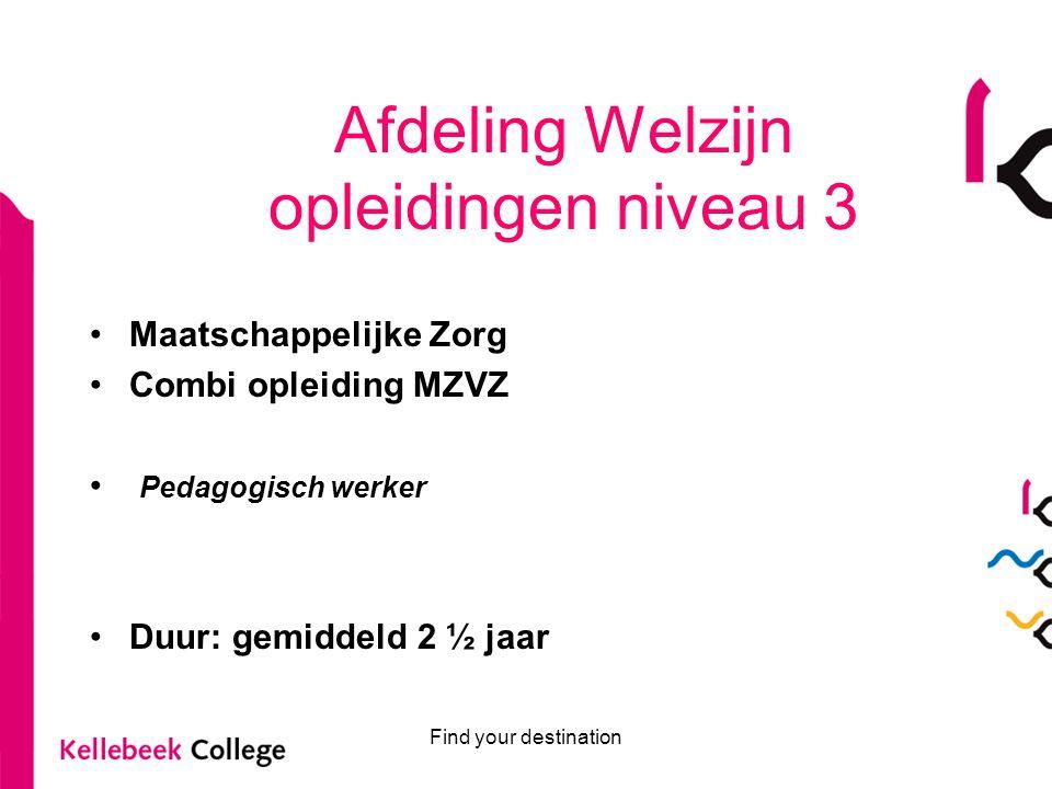 Afdeling Welzijn opleidingen niveau 3