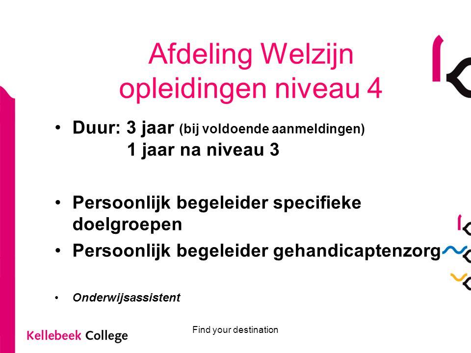 Afdeling Welzijn opleidingen niveau 4