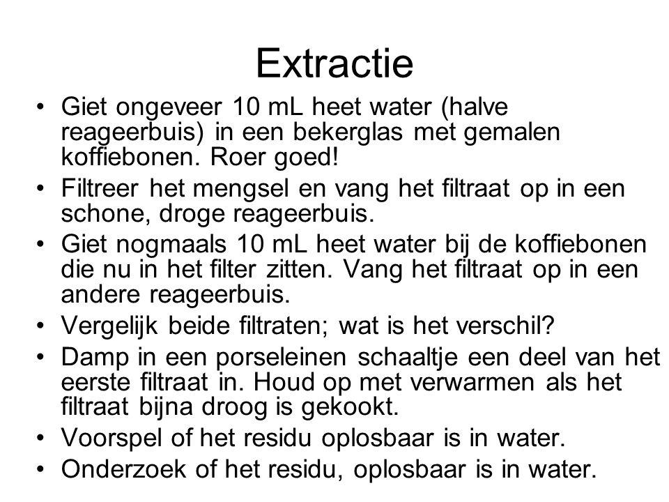 Extractie Giet ongeveer 10 mL heet water (halve reageerbuis) in een bekerglas met gemalen koffiebonen. Roer goed!