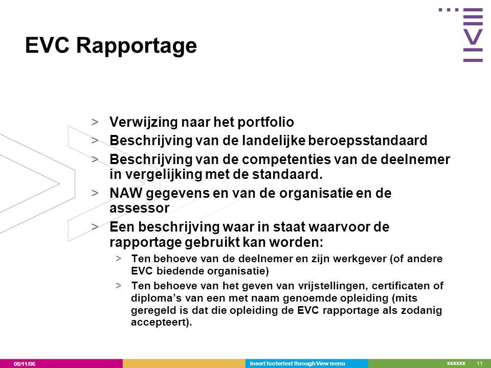EVC Rapportage Verwijzing naar het portfolio