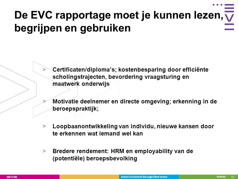 De EVC rapportage moet je kunnen lezen, begrijpen en gebruiken