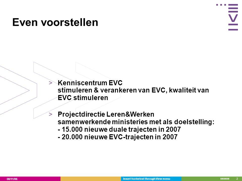Even voorstellen Kenniscentrum EVC stimuleren & verankeren van EVC, kwaliteit van EVC stimuleren.