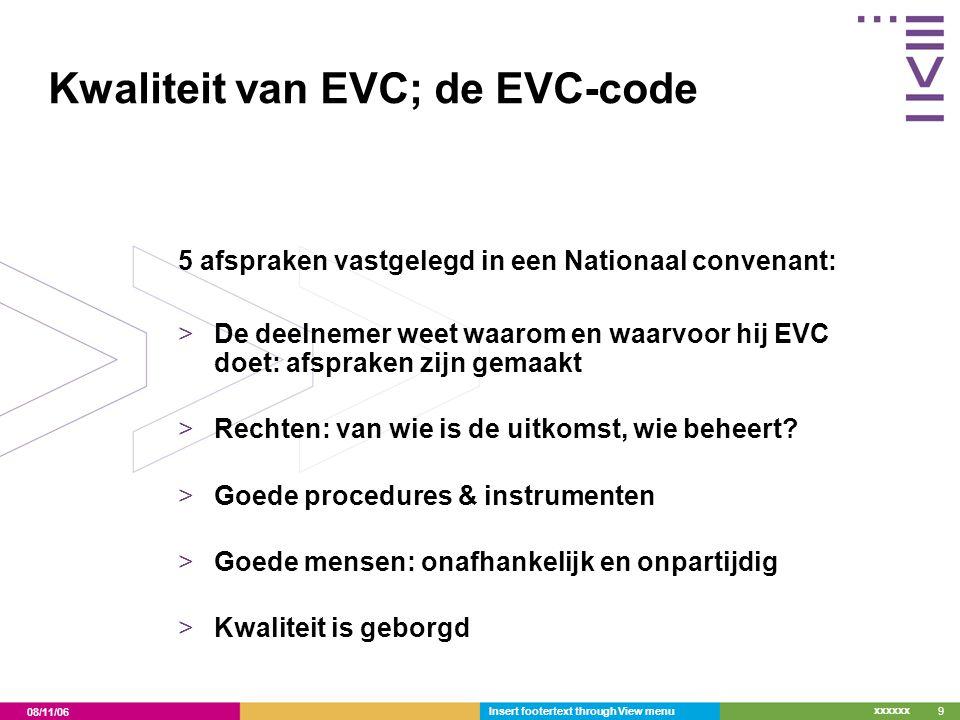 Kwaliteit van EVC; de EVC-code