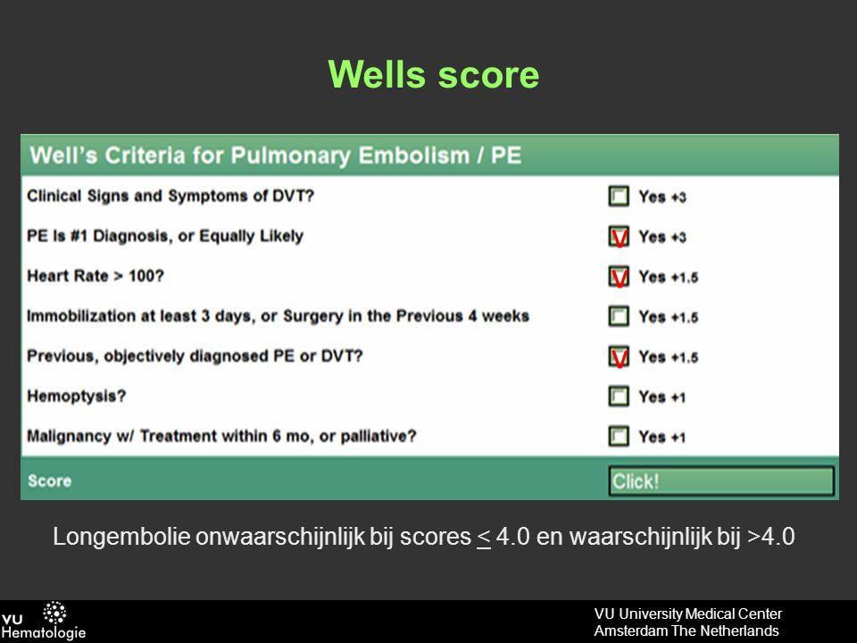 Wells score v v v Longembolie onwaarschijnlijk bij scores < 4.0 en waarschijnlijk bij >4.0
