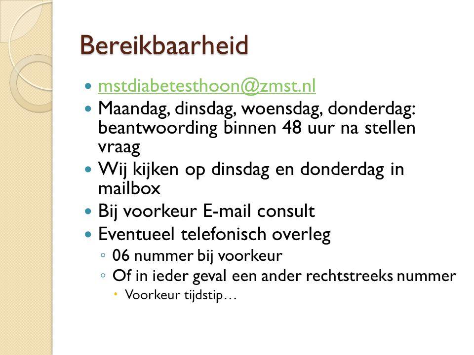 Bereikbaarheid mstdiabetesthoon@zmst.nl