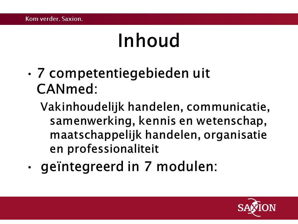 Inhoud 7 competentiegebieden uit CANmed: geïntegreerd in 7 modulen: