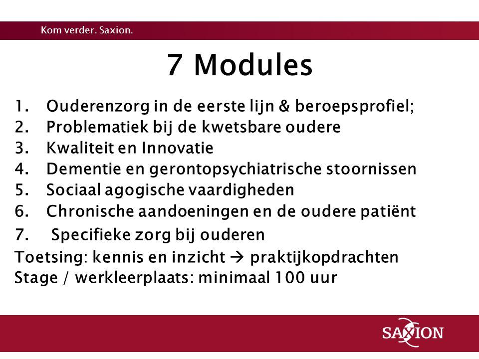7 Modules Ouderenzorg in de eerste lijn & beroepsprofiel;