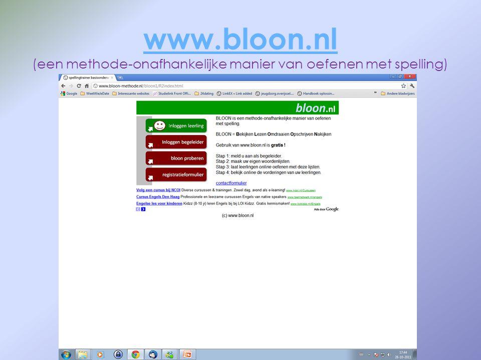 www.bloon.nl (een methode-onafhankelijke manier van oefenen met spelling)