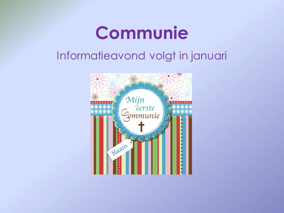 Informatieavond volgt in januari