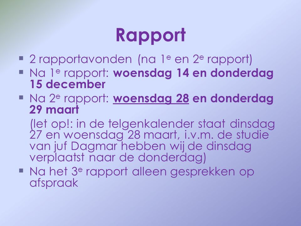 Rapport 2 rapportavonden (na 1e en 2e rapport)