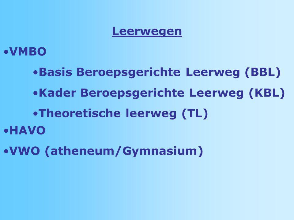 Leerwegen VMBO. Basis Beroepsgerichte Leerweg (BBL) Kader Beroepsgerichte Leerweg (KBL) Theoretische leerweg (TL)