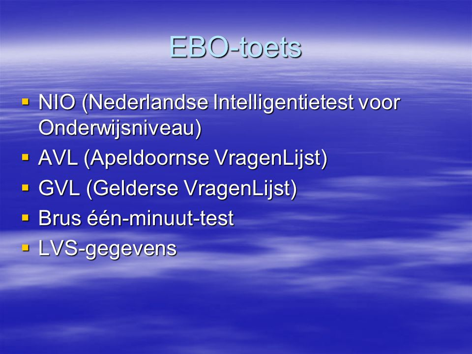 EBO-toets NIO (Nederlandse Intelligentietest voor Onderwijsniveau)