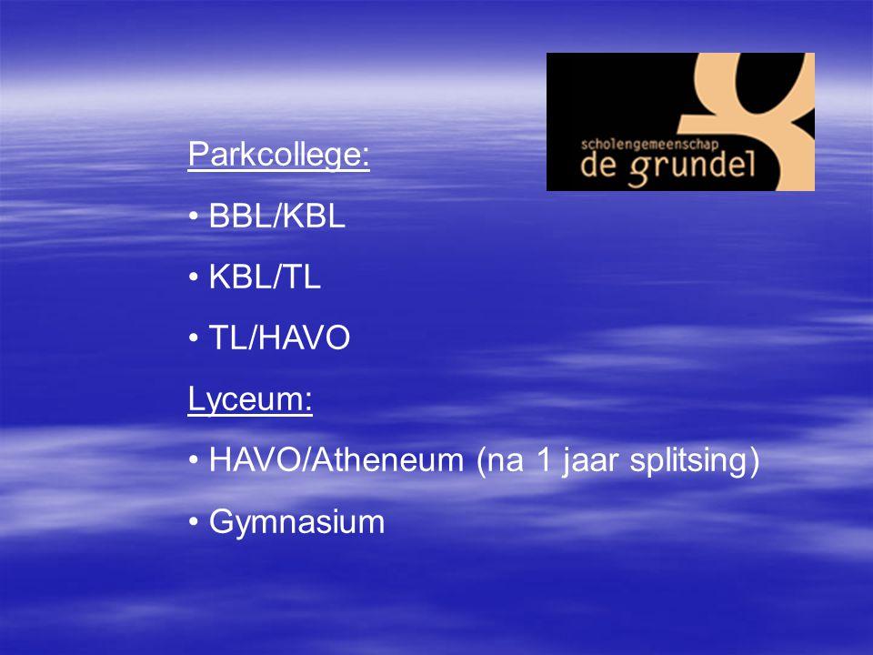Parkcollege: BBL/KBL KBL/TL TL/HAVO Lyceum: HAVO/Atheneum (na 1 jaar splitsing) Gymnasium