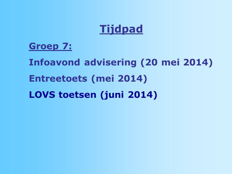 Tijdpad Groep 7: Infoavond advisering (20 mei 2014)