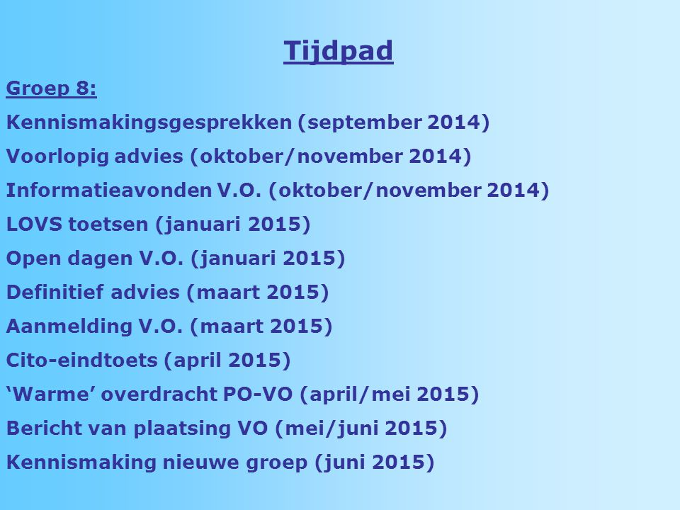 Tijdpad Groep 8: Kennismakingsgesprekken (september 2014)