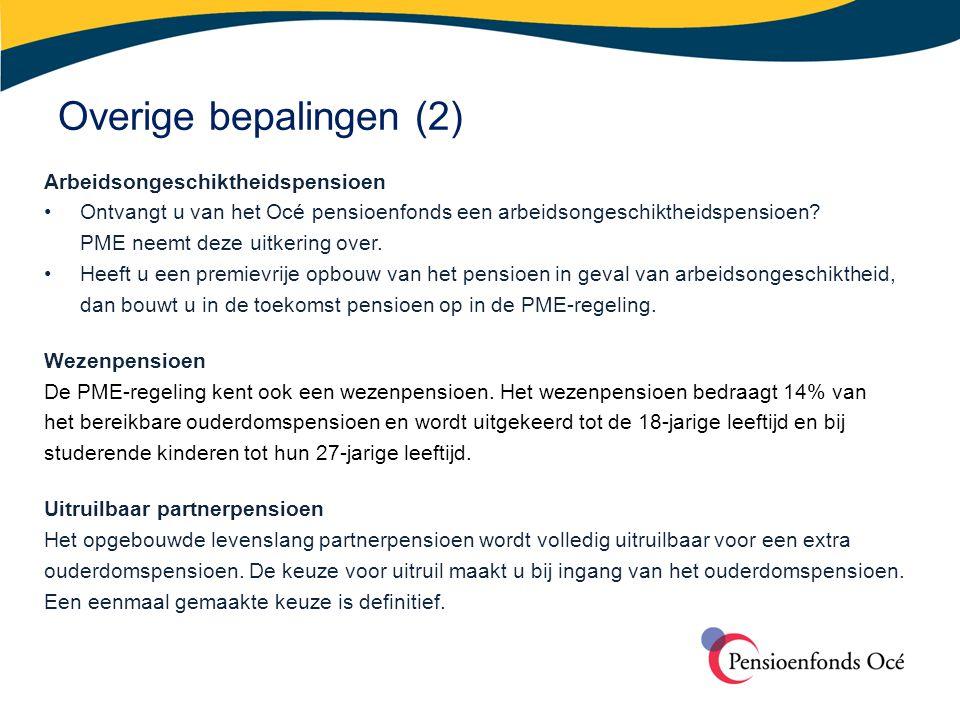 Overige bepalingen (2) Arbeidsongeschiktheidspensioen