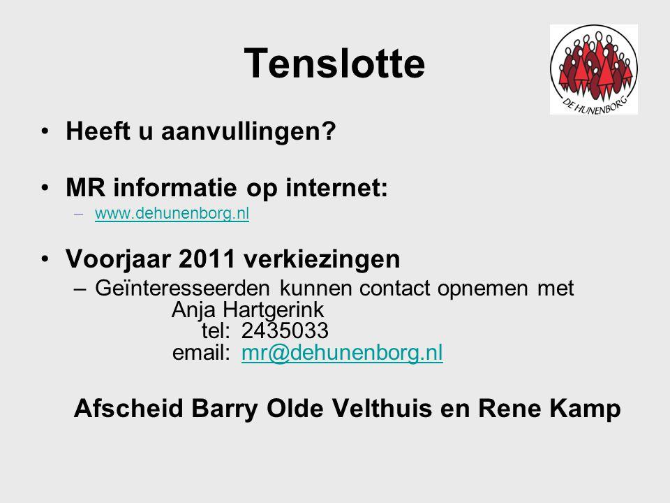 Tenslotte Heeft u aanvullingen MR informatie op internet: