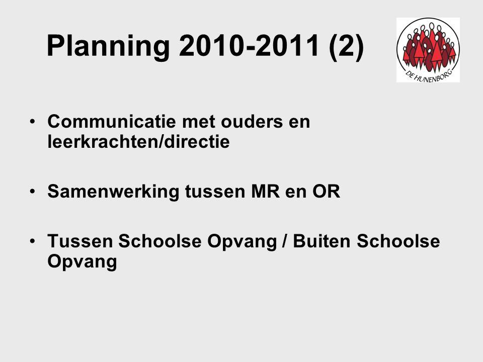 Planning 2010-2011 (2) Communicatie met ouders en leerkrachten/directie. Samenwerking tussen MR en OR.