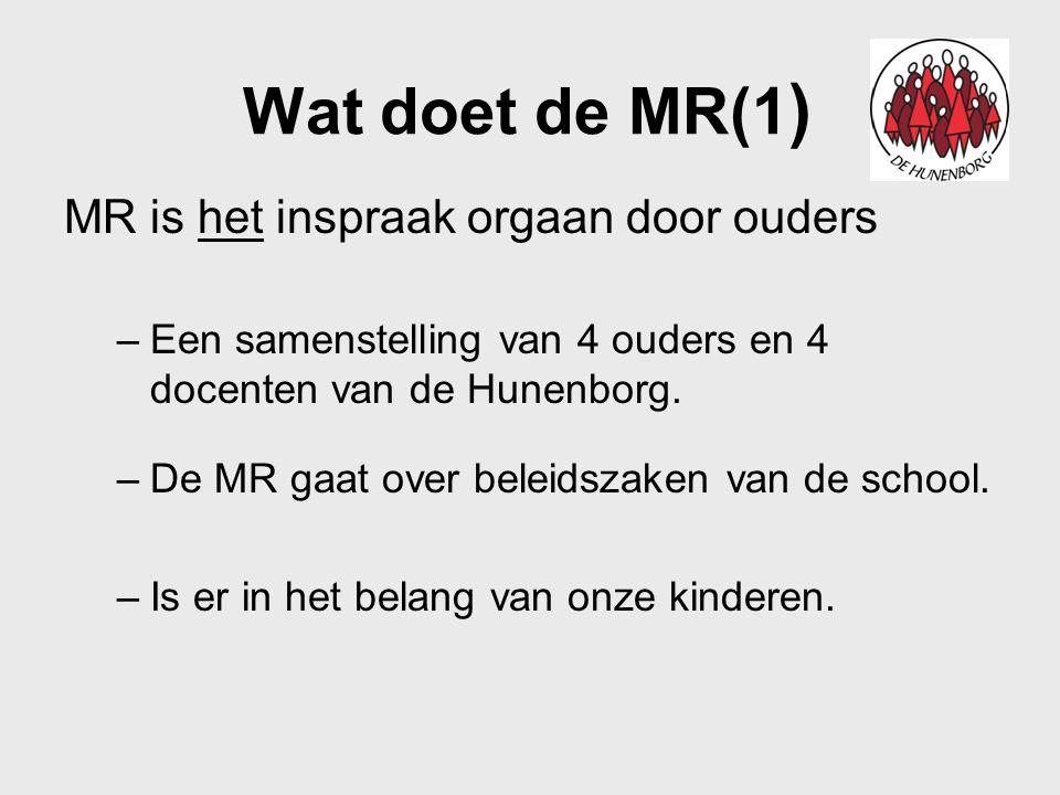 Wat doet de MR(1) MR is het inspraak orgaan door ouders