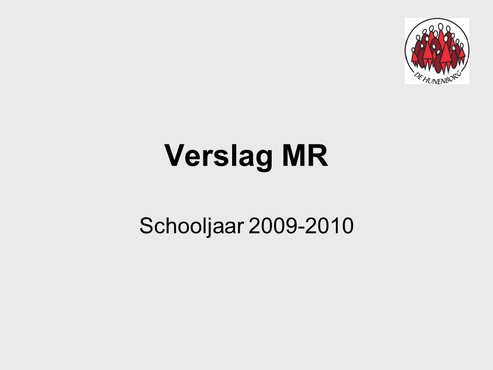 Verslag MR Schooljaar 2009-2010