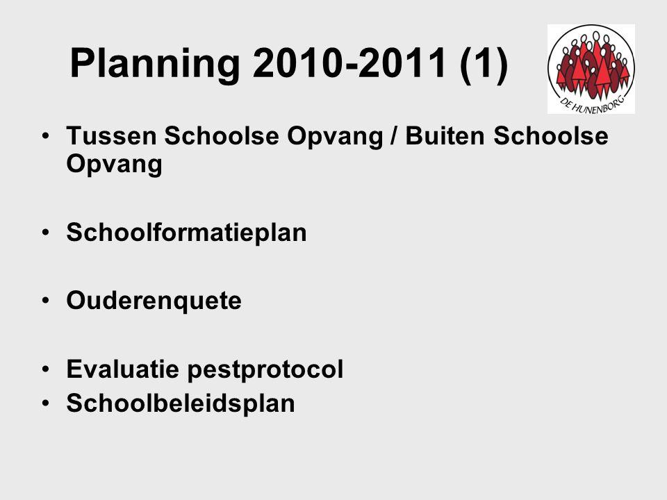 Planning 2010-2011 (1) Tussen Schoolse Opvang / Buiten Schoolse Opvang