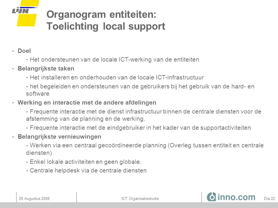 Organogram entiteiten: Toelichting local support