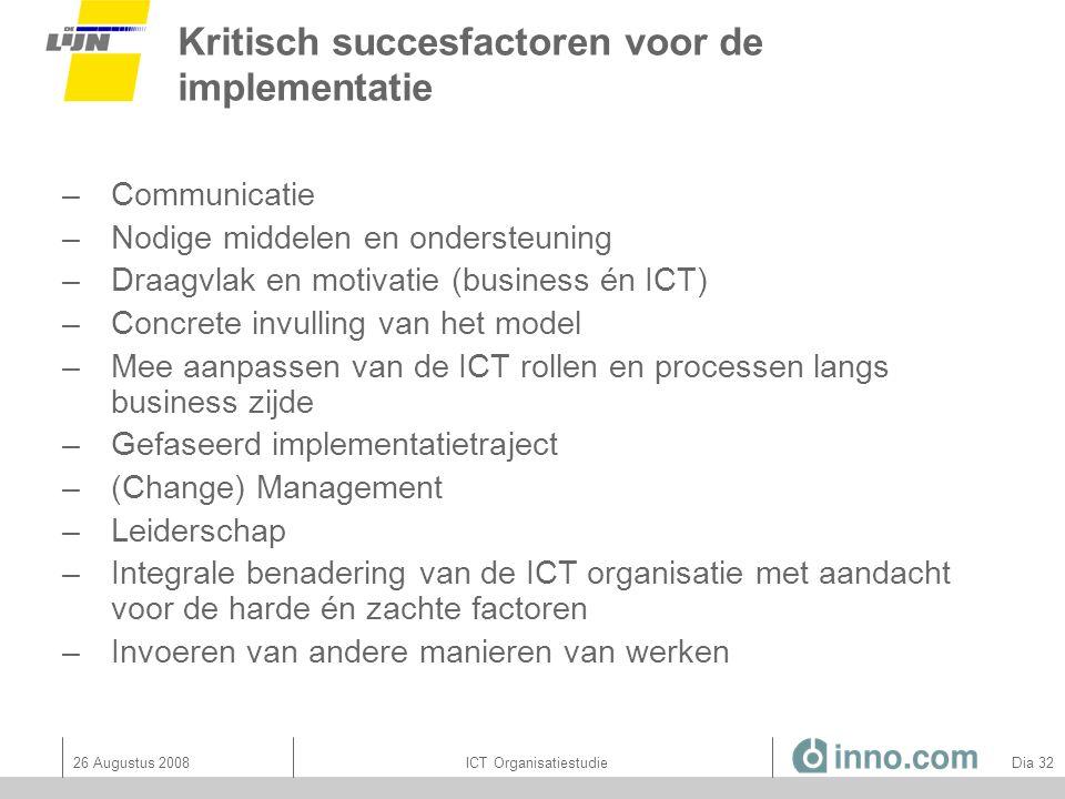 Kritisch succesfactoren voor de implementatie