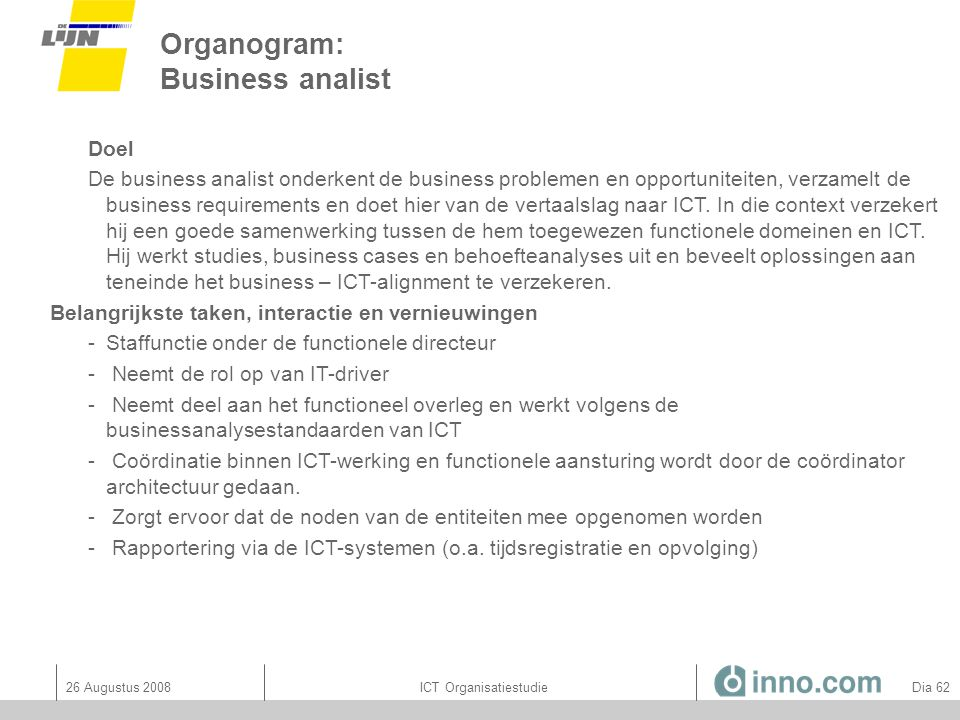 Organogram: Business analist