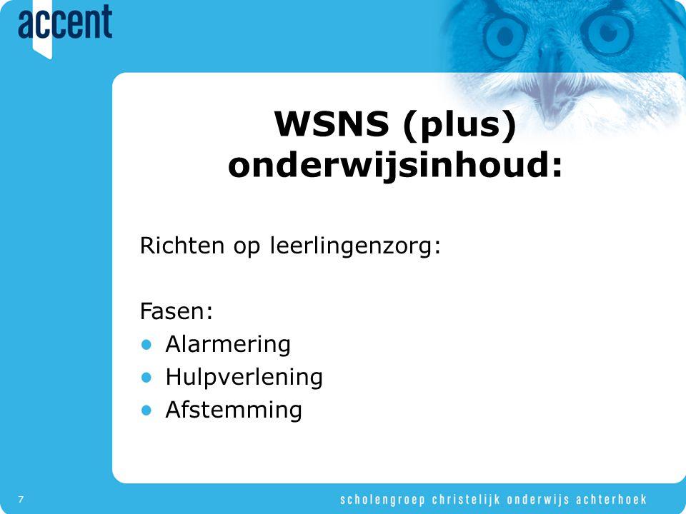 WSNS (plus) onderwijsinhoud: