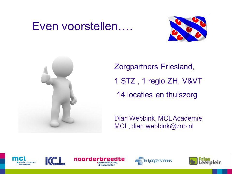 Even voorstellen…. Zorgpartners Friesland, 1 STZ , 1 regio ZH, V&VT